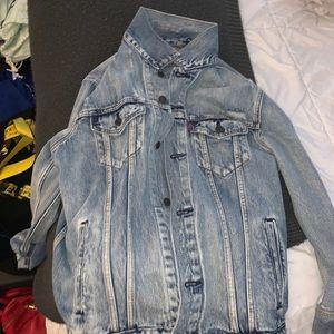 LEVI distressed denim jacket. Worn once